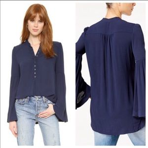 Free People Easy Girl Navy Blue Tunic Top